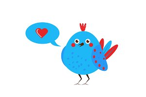 Cute blue bird with heart like sign
