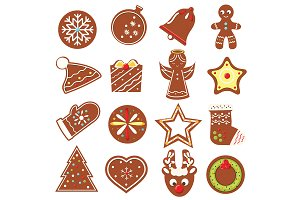 Christmas, new year cookies icons