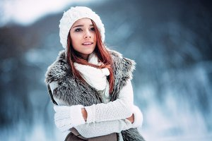 young woman in wintertime