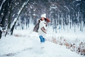 happy winter woman runing
