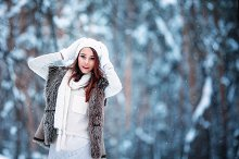 portrait of a young woman in winter