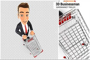 3D Businessman Supermarket Trolley