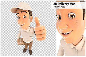 3D Delivery Man Positive Pose
