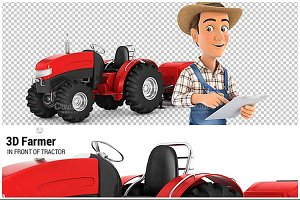 3D Farmer in Front of Tractor