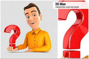 3D Man Presenting Question Mark