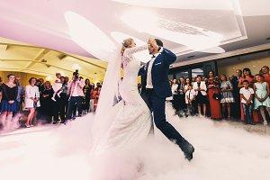 Wedding couple dances tango