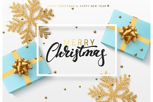 Christmas background with gifts box and shining golden snowflakes.