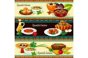 Spanish cuisine banner set with traditional food