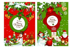 Christmas poster of xmas tree, Santa and snowman