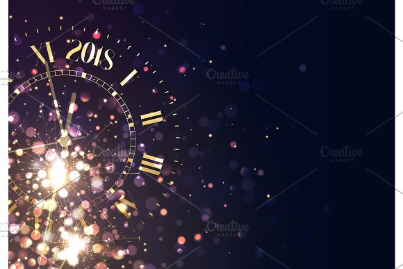 2018 new year background vintage illustrations