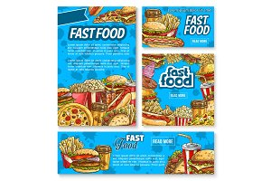 Fast food poster with fastfood meal and drink