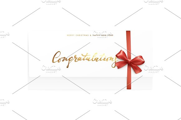 paper card with the word congratulations merry christmas and happy