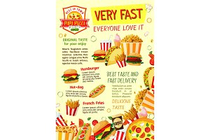 Fast food restaurant and pizzeria poster template