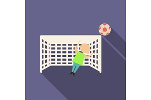 Football goal with goalkeeper in flat style with shadow
