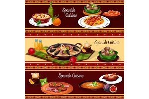 Spanish food, mediterranean cuisine banner set