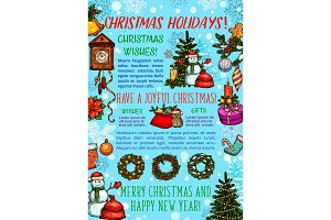 Christmas holiday greeting banner of New Year gift