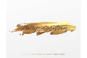 Gold Christmas card, design with golden paint brush