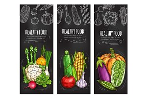 Vegetable chalkboard banner of fresh veggies