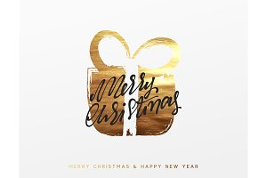 Gold Christmas greeting card, Golden Xmas surprise gift box