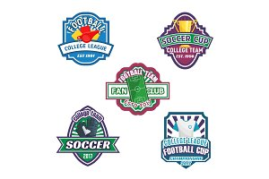 Soccer cup and football sport club badge set