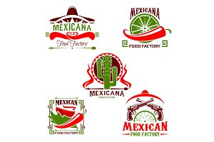 Mexican cuisine restaurant icon, fast food design