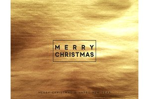 Gold Christmas card, design with golden texture paint brush