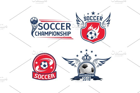 Soccer sport game or football championship emblem