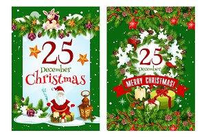 Merry Christmas vector Santa present greeting card