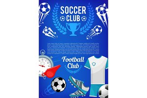 Football sport club banner with soccer ball, items