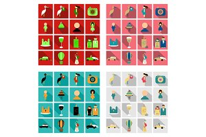 Set of weddings icons in flat style with shadow