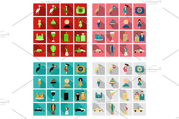 Set of weddings icons in flat style with shadow in Illustrations