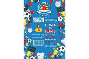 Soccer sport game match poster of football league
