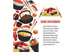 Sushi restaurant poster for japanese food design