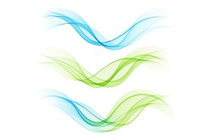 Set of abstract waves. Vector illustration