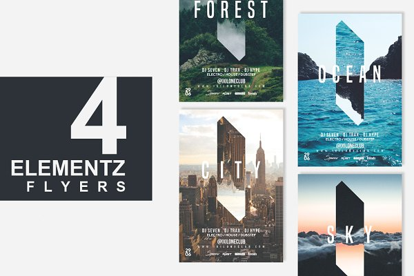 Flyer Templates: WG VISUALARTS - 4in1 ELEMENTS Flyer Template