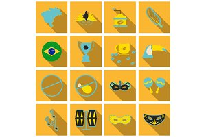 Brazil icons collection. Vector illustration with Brazilian culture and nature icons, including toucan, in carnival costume and in trendy flat style.