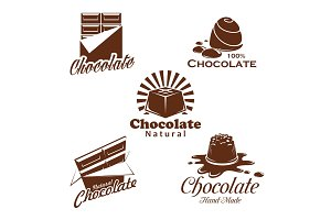 Chocolate candy, bar, cacao dessert emblem design