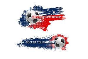 Soccer ball, football tournament banner set design