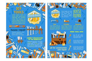 Work tool for home repair, construction poster set