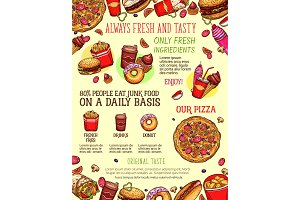 Fast food menu banner with burger, drink, dessert