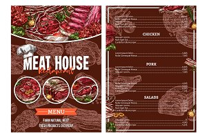 Barbecue meat menu for restaurant brochure design