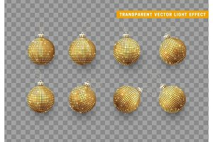 Christmas balls or baubles gold colo