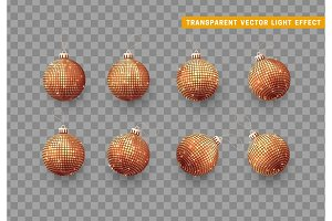 Christmas balls or baubles red color. Xmas golden ornament decoration elements.