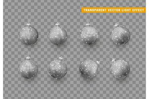 Christmas balls or baubles silver color. Xmas monochrome ornament decoration elements.