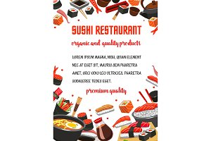 Sushi restaurant menu banner of japanese cuisine