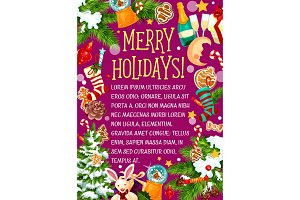 Merry winter holidays vector sketch greeting card