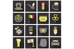 Set of Irish symbols St. Patrick day icons with shadow. Flet icons