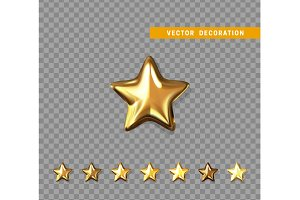 Gold stars isolated on transparent background. Vector illustration
