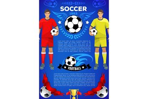 Soccer sport game banner for football club or team