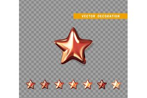 Red stars isolated on transparent background. Vector illustration